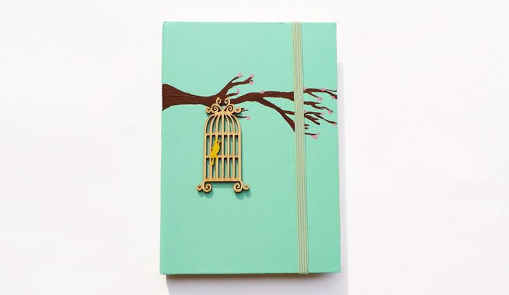 New to ArtyBeezzz on Etsy: Personalized A6 Notebook Moleskine style with bird in a wood cage / hard cover / journal Hand painted / Personalised christmas gift for her (18.00 EUR)