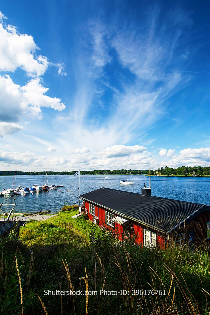Always worth the trip. Vaxholm in the archipelago of Stockholm.  Shutterstock.com Stockphoto-ID: 396176761  #vaxholm #island #archipelago #sweden #typical #roof #shore #coast #harbor #ships #boathouse #sky #sun #stockholm #travel #trip #holiday #reise #urlaub #insel #boote #schiffe #hafen #schärengarten #sweden #skärgård #hav #hamn #semester