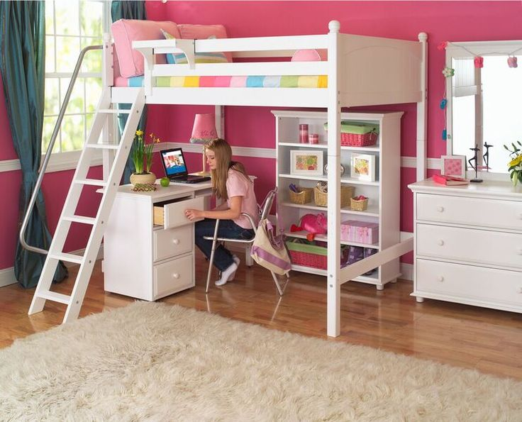A Full Size Ultra High Loft Bed by Maxtrix Furniture. Nice and comfortable under-bed space.  Maxtrix Loft & Bunk Beds are modular, made of Solid Maple & holds up to 400lbs.
