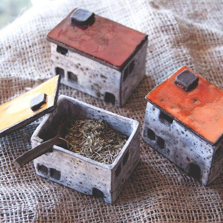 Handmade ceramic cruet, ceramic spice jars, house shaped ceramic box