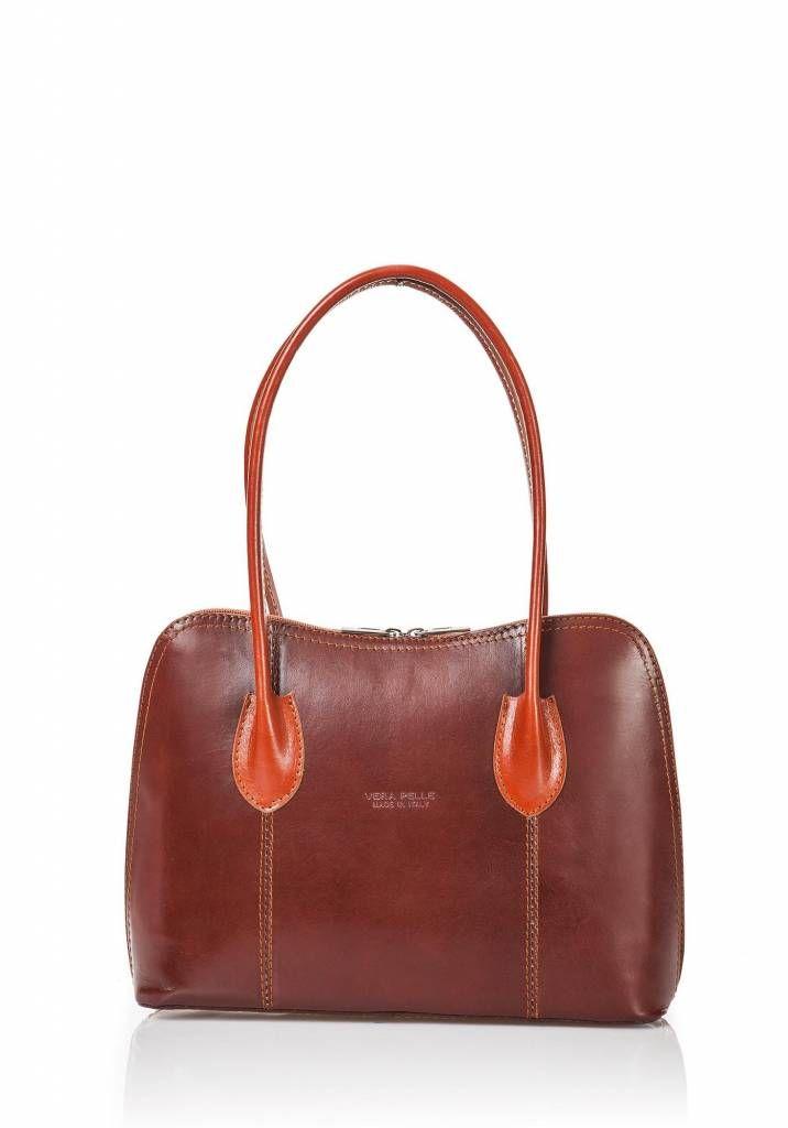 Schouder tas-handtas leder dubbel handvat bruin met naturel bruin kleur uit Italië