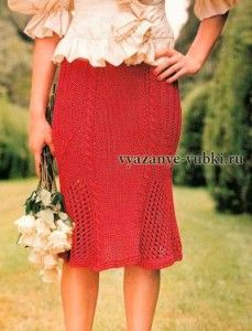 """красная вязаная юбка годе спицами """"Скарлетт"""" http://vyazanye-yubki.ru/krasnaya-yubka-spicami-skarlett/"""