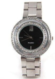 Paidu Women Quartz Watch Black Dial and Silver Color Steel Band Wrist Watch 58938