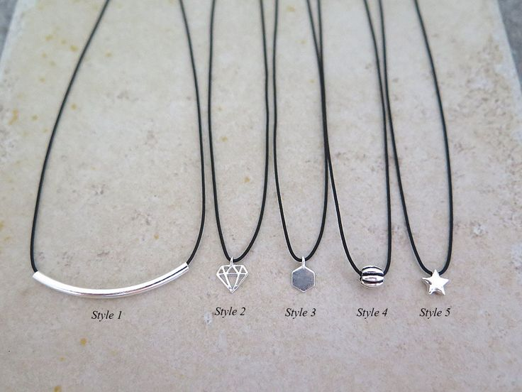 Black Thin Choker/Sterling Silver choker/Short Necklace/Black Choker/Dainty charm necklace/Silver Bar Necklace/925 silver choker/Chokers by MinimalBijoux on Etsy