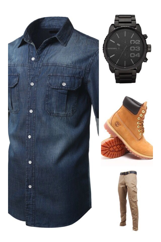 Timberland Boots, Jeans Shirt Pull &  Bear, Diesel Watch, Beige Panta Back to basic colección by Zara. Outfit by Armando Ureña.