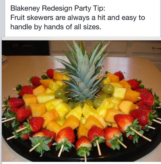 Fruit skewers.  Healthy party snack.
