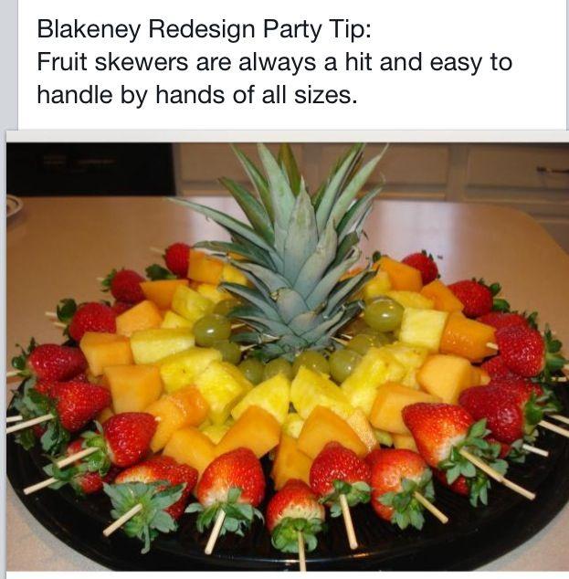 Fruit skewers.  Healthy party snack.