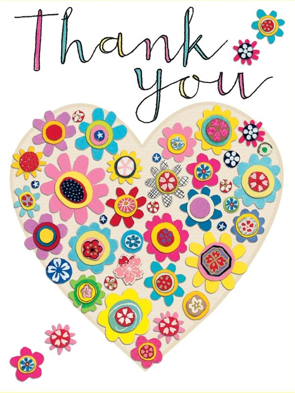 Thank you heart of flowers packs of 5 rachel ellen designs card and stationery designers and publishers