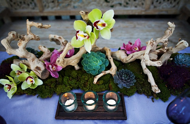 pieces of grapewood, sheet moss and orchids as well as succulents.Wedding Inspiration, Urban Chic, Trees Branches, Centerpieces, Farms Tables, Bold Colors, Heavens Bloom, Flower, Events Style