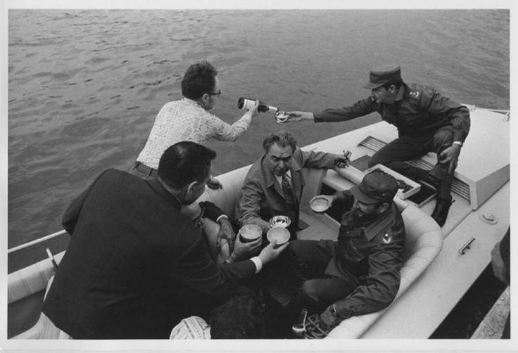 Cuba. Leonid Brezhnev and Castro brothers on the boat. Author Vladimir Musaelyan, 1974