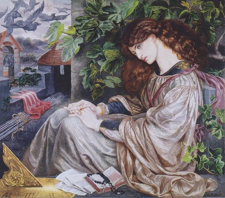 Pia de' Tolomei Dante Gabriel Rossetti 1868  This work was painted at the start of Rossetti's affair with Jane Morris who modelled for the picture. As he was to do with Beata Beatrix (1870) Rossetti chose a tale by Dante Aligheri (from Purgatorio) to illustrate his love for his model. The story tells of a woman whose husband imprisoned and later poisoned her. Rossetti wanted the world to believe the fantasy with which he was deluding himself - that William Morris kept Jane against her will…