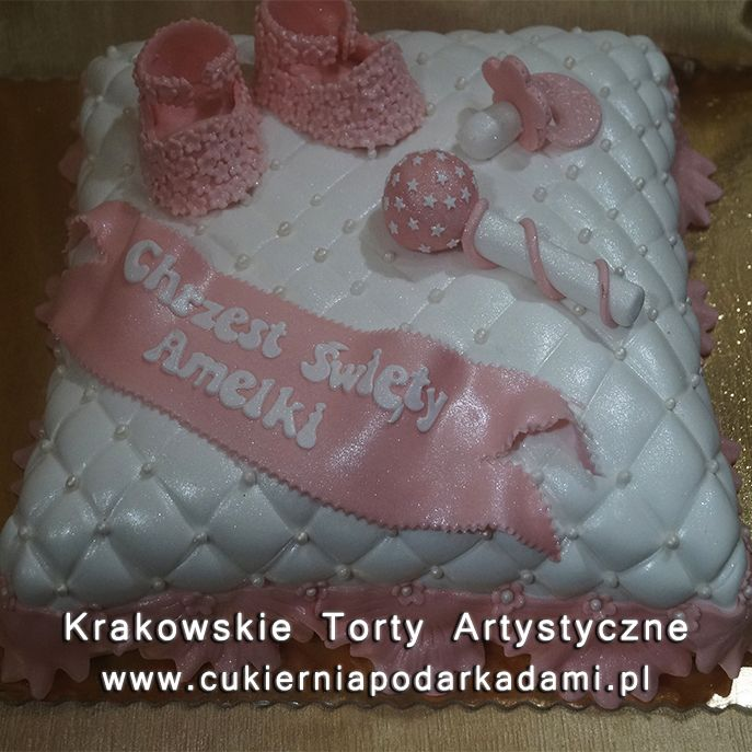 057. Tort poduszka na chrzest z bucikami. Pillow cake with small shoes for baptism.