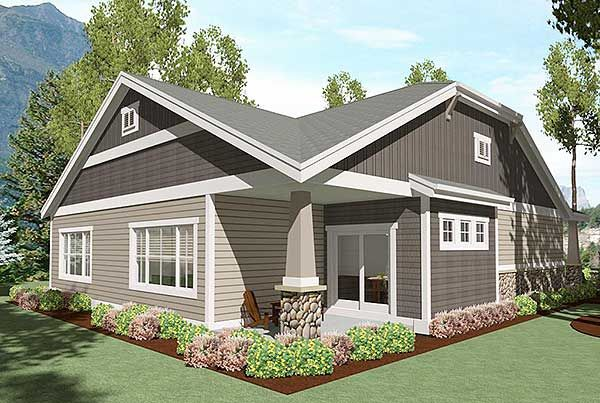 Plan 64410sc 2 bed bungalow with rear covered patio for Patio home plans with rear garage