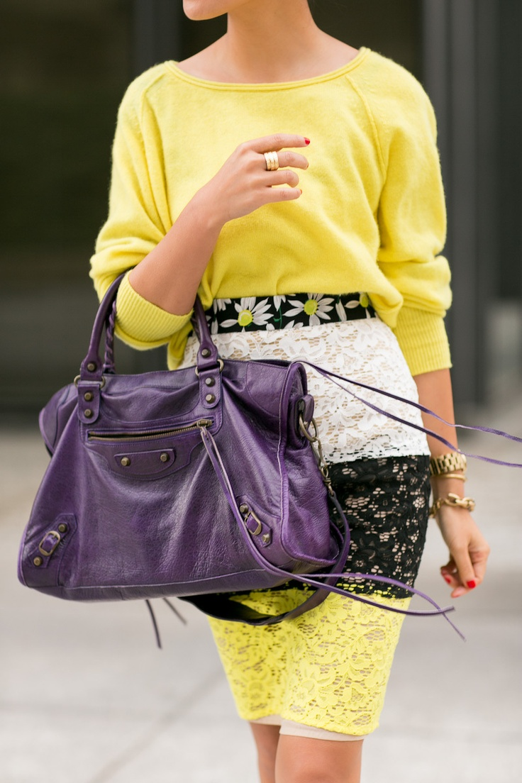 SAME color yellow in the sweater and the bottom of the skirt, but a whole DIFFERENT texture