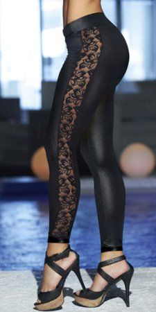 Black Leggings With Floral Lace Side Panel | Leather & Lace ...