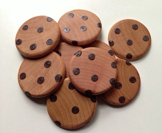 NEW Wooden Play Food 12 Chocolate Chip Cookies by BYOImagination, $10.50