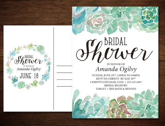 Postcard Wedding Shower Invitations: Succulent Bridal Shower Invitation Postcard In A Rustic