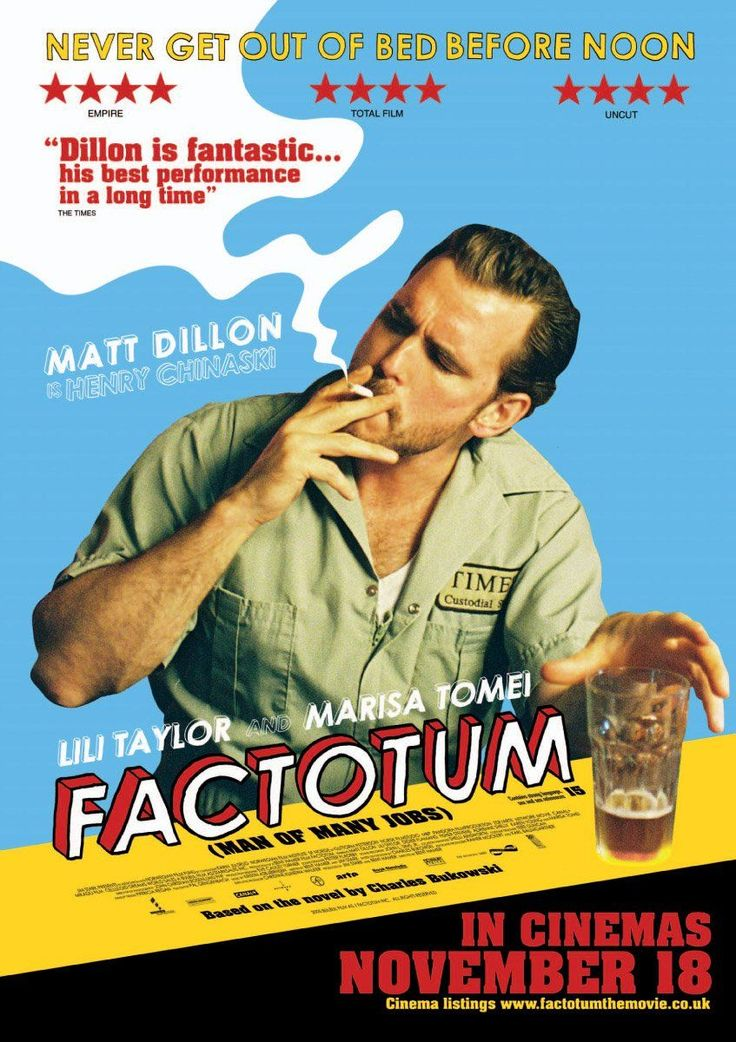 Factotum , starring Matt Dillon, Lili Taylor, Marisa Tomei, Didier Flamand. This drama centers on Hank Chinaski, the fictional alter-ego of 'Factotum' author Charles Bukowski, who wanders around Los Angeles, CA trying to live off jobs which don't interfere with his primary interest, which is writing. Along the way, he fends off the distractions offered by women, drinking and gambling. #Comedy #Drama #Romance