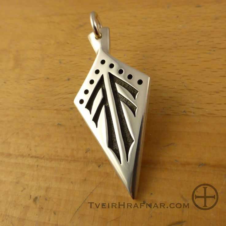 """Gungnir - the spear is incised with twinned Ansuz runes- Odins rune. Pendant measures approx. 1.75″ x .8"""" x .93″ thick (45mm x 21mm x 2.3mm thick) and weighs just about 9 grams."""
