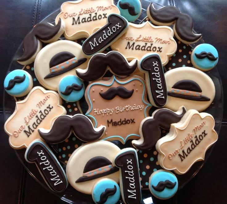 1 Dozen Mustache little Man Birthday Cookies by NatSweetsCookies, $42.00