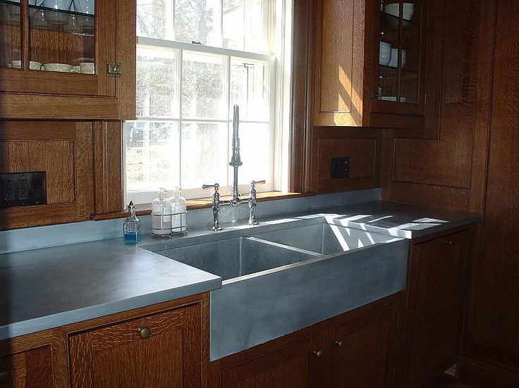 17 best images about farmhouse sinks on pinterest copper for Zinc kitchen countertop