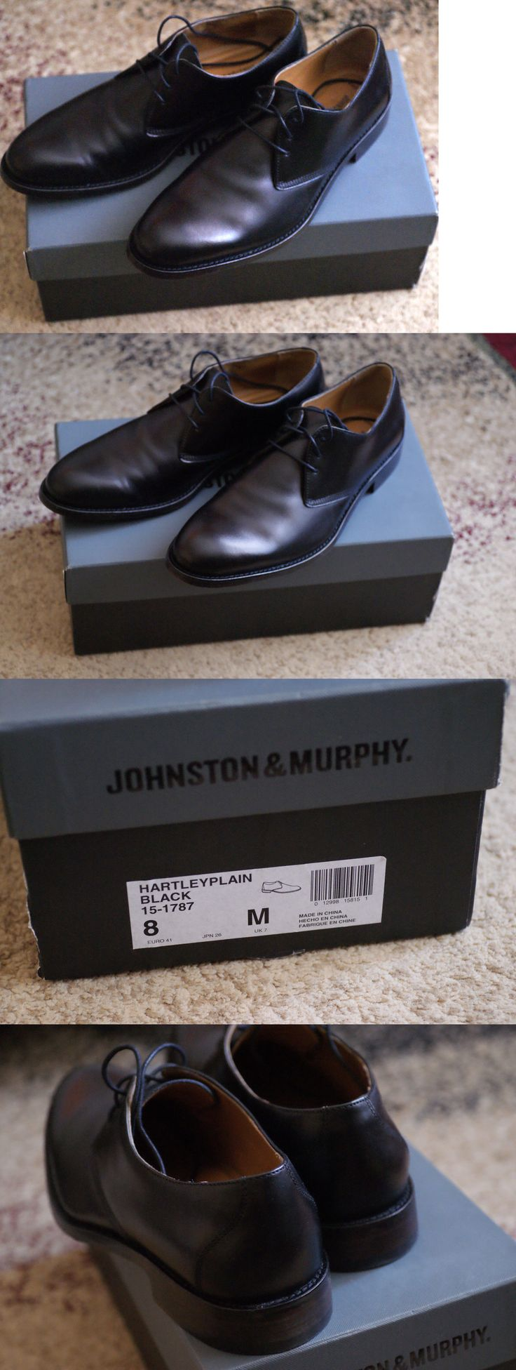 Men Shoes: New Johnson And Murphy Mens Black Genuine Leather Dress Shoes Size 8M BUY IT NOW ONLY: $80.99