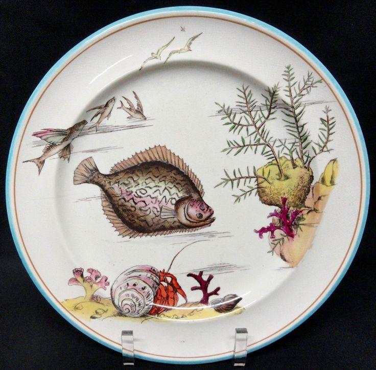 Rare George Jones Polychrome Plate ~ Rare Fish & Seaweed 1875