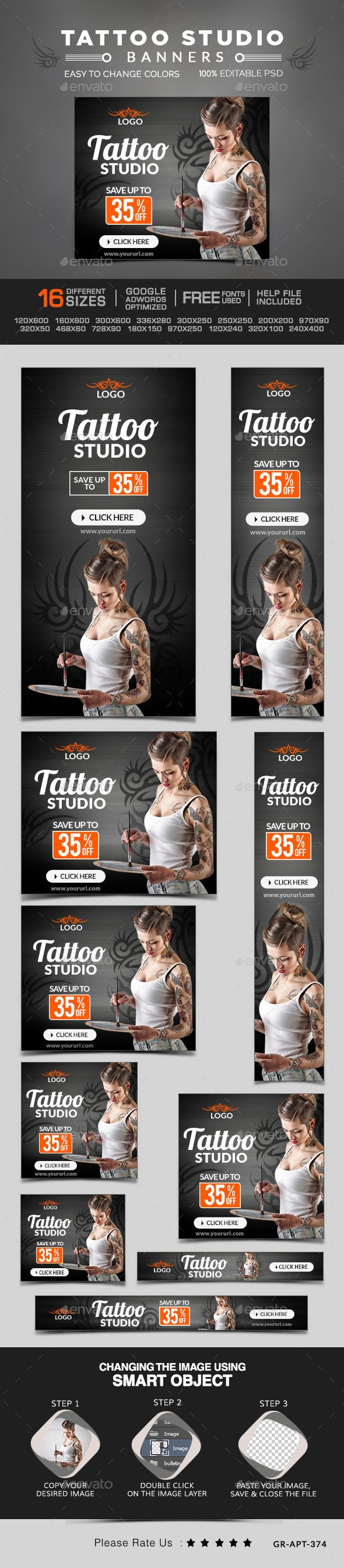 Tatto Studio Banners Template PSD | #webbanner #tattobanners #bannertemplate | Download: http://graphicriver.net/item/tatto-studio-banners/10391501?ref=ksioks