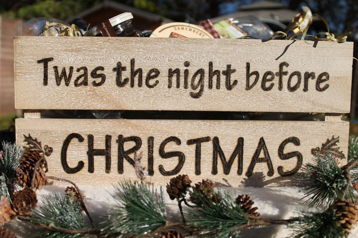 "Christmas Eve crate woodburned with ""Twas the night before Christmas"" by MadeByJoMo on Etsy"
