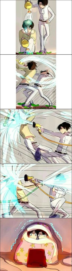 Eren x levi attack on titan -- Don't ship it, but hahahaha xD (actually I don't know if I ship it yet or not cuz I haven't gotten to the part where Levi comes in yet)