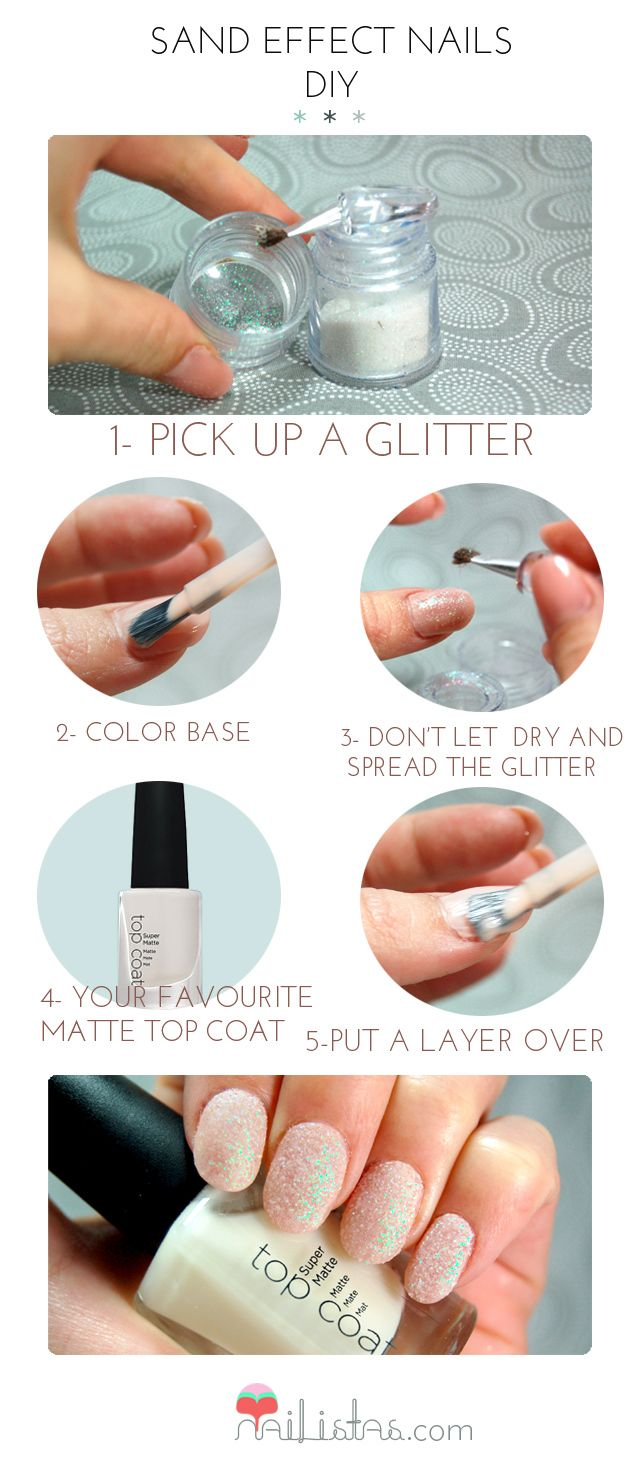 Sand Effect Nails Step by Step // DIY NAILS GORGEOUS sparkley nails! They use glitter to make the nails look sandy :D