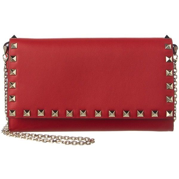 Valentino Rockstud Leather Chain Wallet (3,240 AED) ❤ liked on Polyvore featuring bags, wallets, red, red leather bag, studded wallet, valentino wallet, leather snap wallet and studded leather wallet