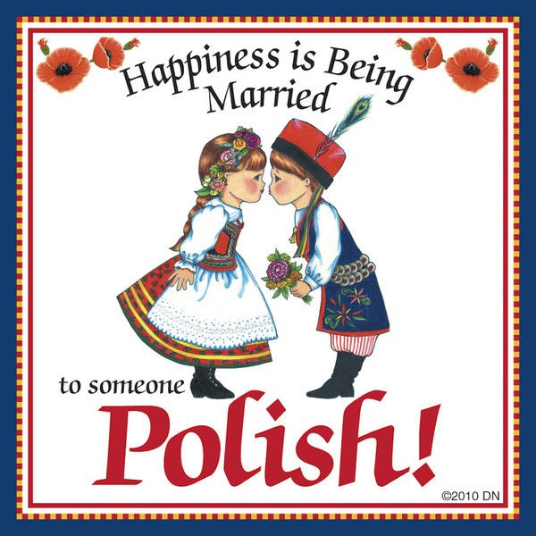 """This charming magnet tile will surely brighten up your kitchen. The unique artwork on this fridge magnet tile will make for an excellent unique Polish gift. This ceramic tile features the saying: """"Hap"""