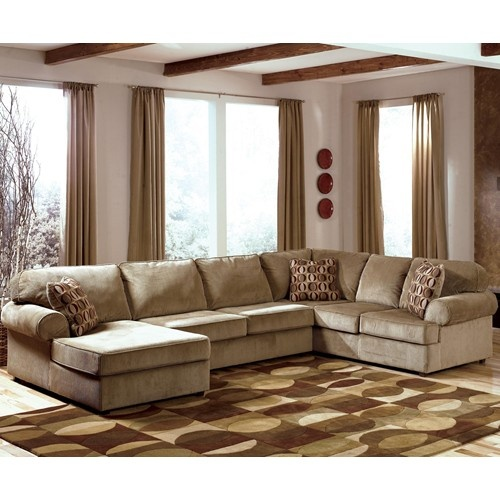 Vista cappuccino casual 3 piece sectional with left for Vista chaise sectional sofa