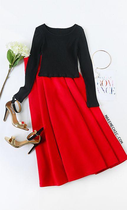 Red Wide Waistband Side Zip Box Pleated Midi Skirt