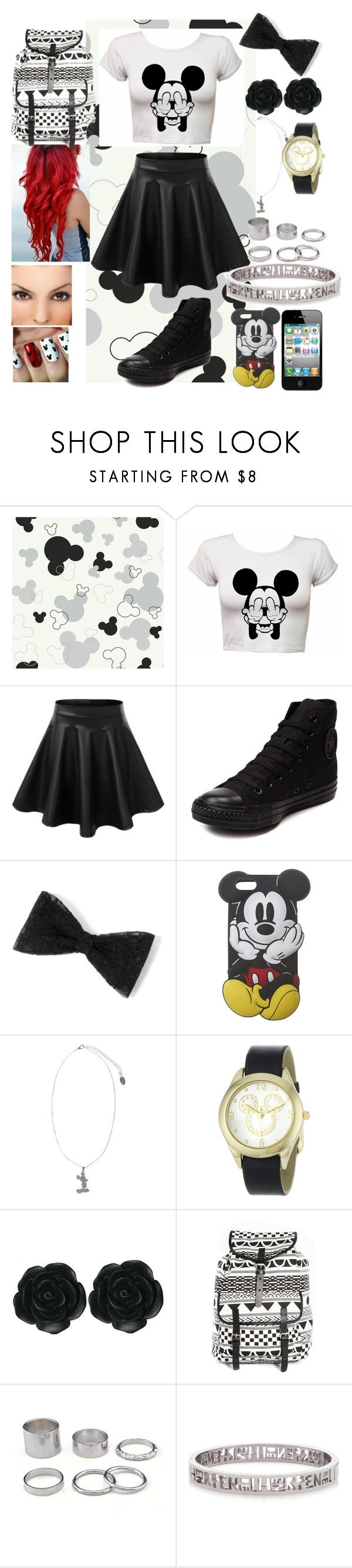 """Black & White Mickey Mouse"" by blackest-raven ❤ liked on Polyvore featuring LE3NO, Converse, Wet Seal, Disney Couture, Disney, Dollydagger, Monki and Henri Bendel"