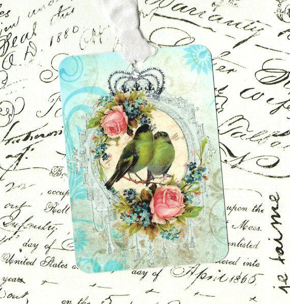 Tags, Bird Gift Tags, rozen, partij gunsten, verjaardag Tags, Franse kroon