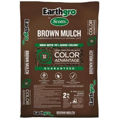 This is what I used in flower beds for future reference.   Scotts Earthgro 2 cu. ft. Brown Mulch-647185 - The Home Depot