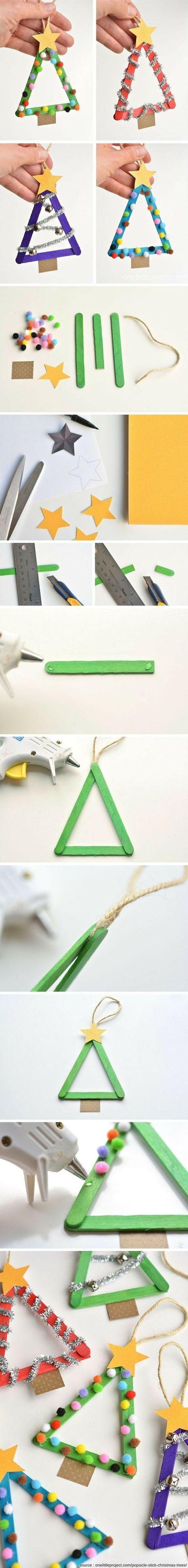 TUTO pour fabriquer ces petits sapins de Noël à suspendre en utilisant des bâtonnets de glace !
