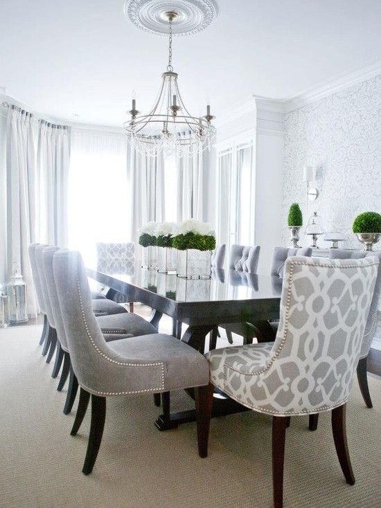 Contemporary Dining Room -- love the patterned chairs for the head of table seats