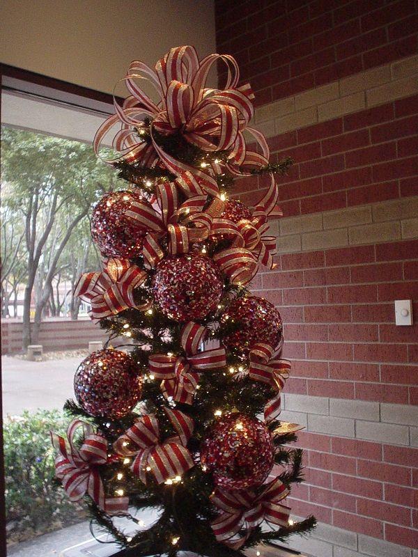 Red Silver Christmas Tree Christmas Trees Pinterest