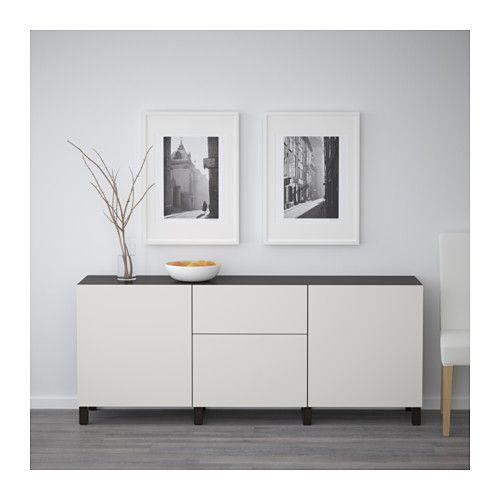BESTÅ Storage combination with drawers - black-brown/Lappviken light grey, drawer runner, soft-closing - IKEA