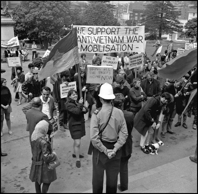 Anti-Vietnam War protest at Parliament in 1969