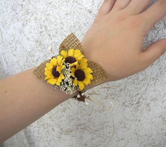 Sunflower Wedding Rustic Wedding Corsage Burlap by FloroMondo