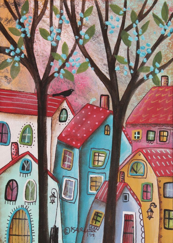 Red Roofs 5x7inch ORIGINAL Canvas Panel PAINTING FOLK ART Primitive Karla G #FolkArtAbstractPrimitive