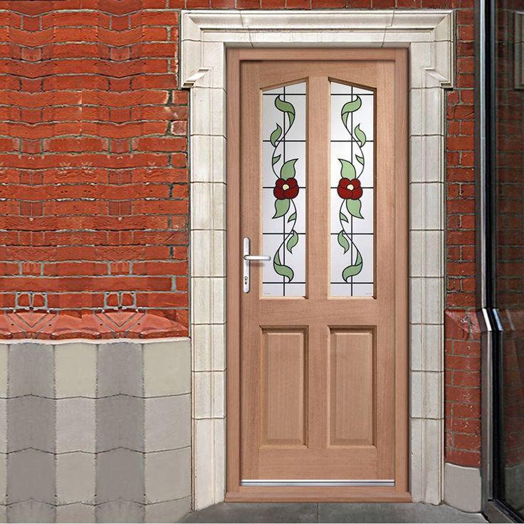 Front doors for sale, the Richmond mahogany door, one of the most popular glass designs. #flowerglassdoor #frontdoorwithfloraldesign #frontglazeddoor