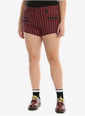 e2426d508e7 Blackheart Black   Red Striped Low Rise Shorts Plus Size in 2019 ...