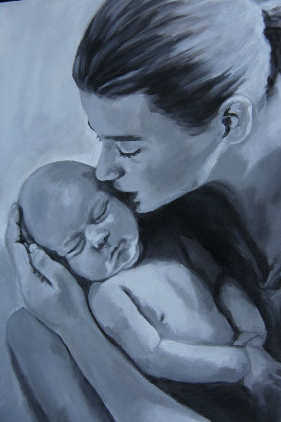 Mother And Child Black White Painting In Acrylic Mom