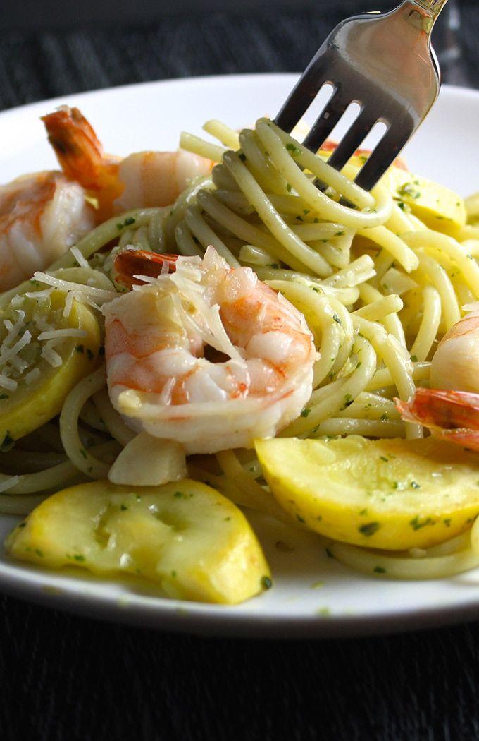 Summer Spaghetti with Garlicky Shrimp recipe is a healthy seasonal pasta dinner.