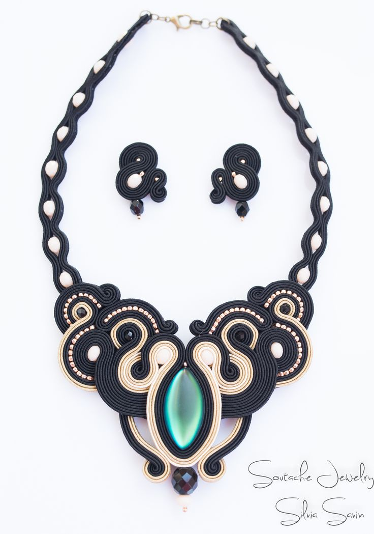 Unique handmade soutache necklace by Silvia Savin